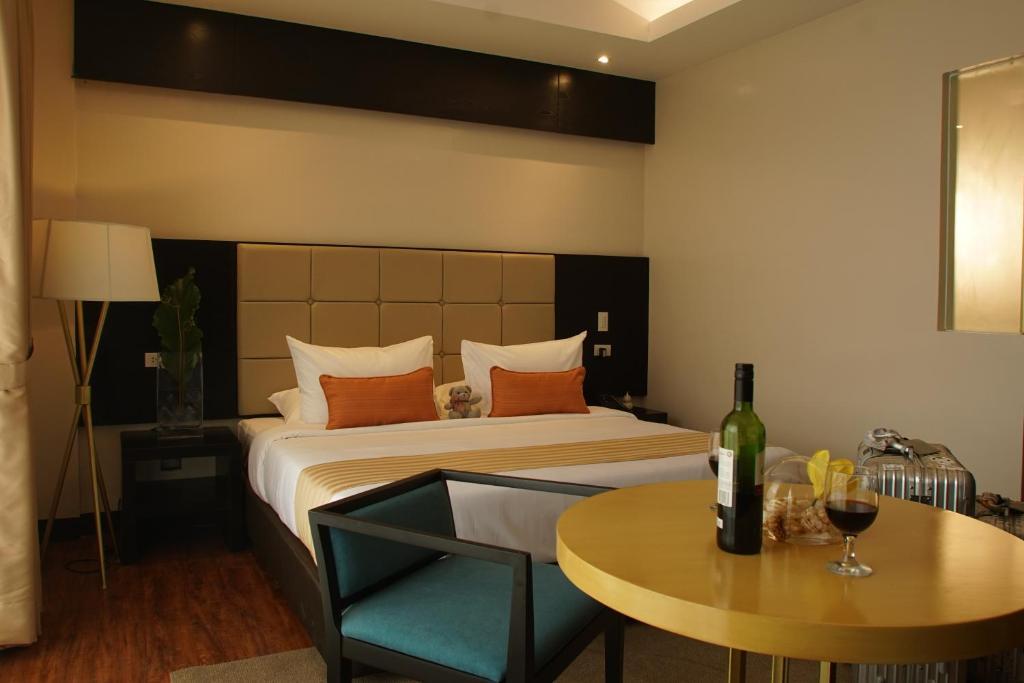 欧厄齐斯酒店客房内的一张或多张床位